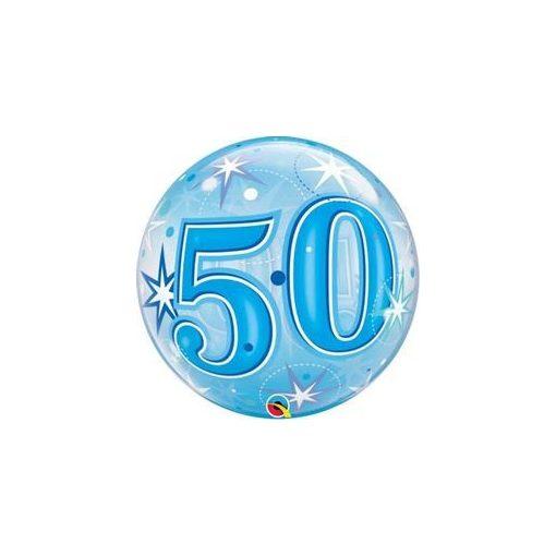 """Számos Bubbles lufi 22"""" 56cm 50-es számmal, Héliummal töltve, 48447"""