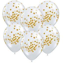 """Qualatex lufi 11"""" 28cm, 25db/csom, diamond clear, kristálytiszta, átlátszó, konfetti pöttyös,confetti dots, 56844"""