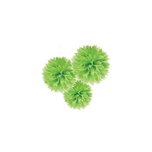 Függő dekoráció, bolyhos papír 41cm 3db, zöld