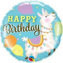 """Szülinapi fólia lufi 18"""" 45cm Happy Birthday, láma, lama, 85905, héliummal töltve"""