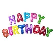 """Happy Birthday felirat, színes, 16"""" fólia betűk, csak levegővel tölthető"""