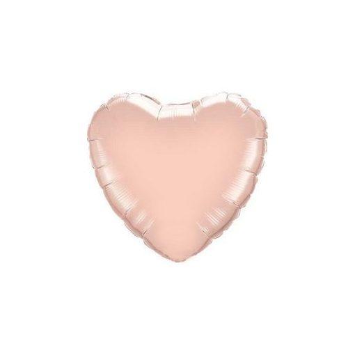 """Egyszínű szív fólia lufi 18"""" 45cm Rose Gold szív, 57045, héliummal töltve"""