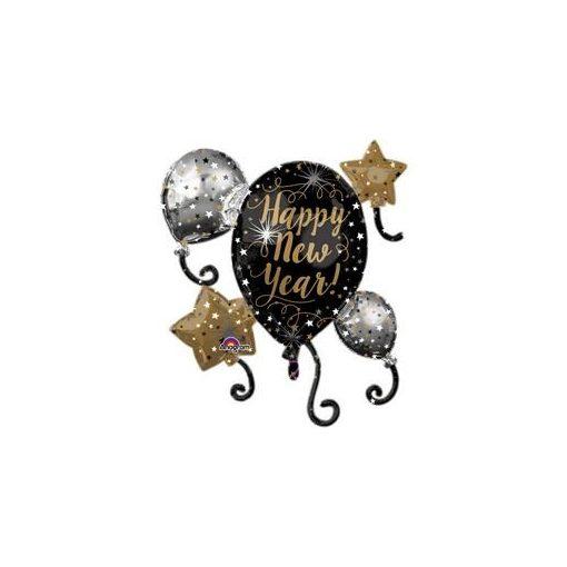 """Óriás fólia lufi 29"""" 73cm Happy New Year szilveszteri lufi, 3399801, héliummal töltve"""