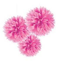 Függő dekoráció, bolyhos papír 41cm 3db, rózsaszín