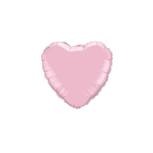"""Egyszínű szív fólia lufi 18"""" 45cm gyöngyház rózsaszín szív, 11855, héliummal töltve"""