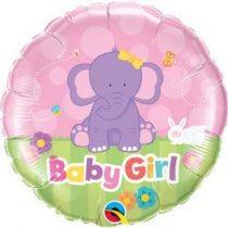 "Fólia lufi babaszületésre 18"" 45cm - Baby girl, 13929, héliummal töltve"