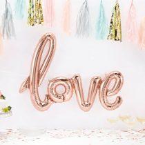 """Fólia lufi 30"""" 75cm LOVE felirat - csak levegővel tölthető - Rosegold, Rose gold"""
