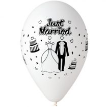 "Esküvői latex lufi 11"" 28cm 10db Just Married, printJMfeher"
