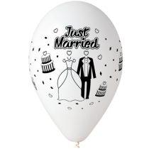 """Esküvői latex lufi 11"""" 28cm 10db Just Married, printJMfeher"""