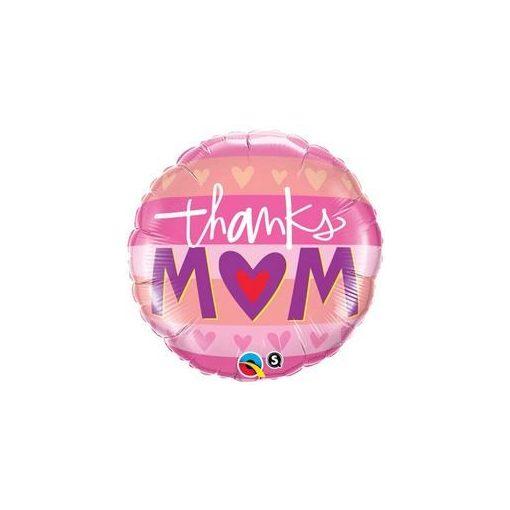 """Anyák napi fólia lufi 18"""" 45cm Thanks Mom, 23730, héliummal töltve"""