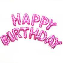 """Happy Birthday felirat, rózsaszín, fehér szív mintával, 16"""" fólia betűk, csak levegővel tölthető"""