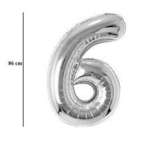 """Számos lufi 34"""" 86cm óriás ezüst fólia szám, számjegy 6-os Héliummal töltve, 30421"""