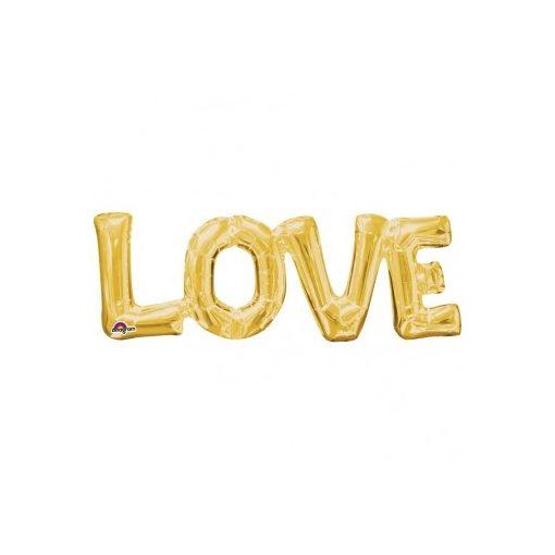 Fólia lufi - LOVE arany felirat, csak levegővel tölthető, 63x22cm,  07-3376701