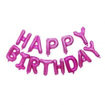 """Happy Birthday felirat, rózsaszín 16"""" fólia betűk, csak levegővel tölthető"""