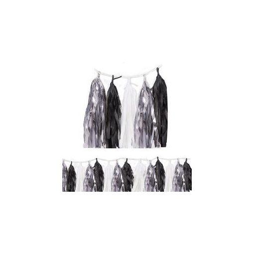 Rojtos girland, dekor füzér, 274cm fekete-fehér-ezüst, p62952