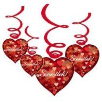 Szeretlek, függő dekoráció 6db, 38294