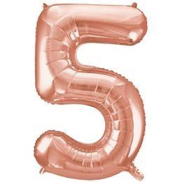 """Számos lufi 34"""" 86cm óriás Rose Gold fólia szám, számjegy 5-ös Héliummal töltve, 55875"""