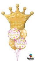 Héliumos luficsokor szülinapra, korona, Happy Birthday - INGYENES KISZÁLLÍTÁSSAL