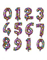 """Számos lufi 16"""" (40cm) fólia szám, számjegy 7-es, levegővel tölthető, fekete alapon-színes pöttyös"""