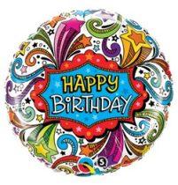 """Szülinapi fólia lufi 18"""" 45cm Happy Birthday, 41627, héliummal töltve"""