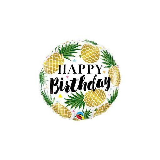 """Szülinapi fólia lufi 18"""" 45cm Happy Birthday, ananas, ananász, 57277, héliummal töltve"""