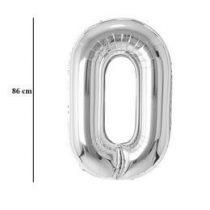 """Számos lufi 34"""" 86cm óriás ezüst fólia szám, számjegy 0 Héliummal töltve, 30392"""