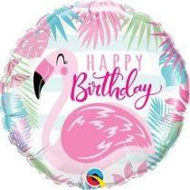 """Szülinapi fólia lufi 18"""" 45cm Happy Birthday, flamingo, flamingó, 57274, héliummal töltve"""