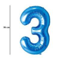"""Számos lufi 34"""" 86cm óriás kék fólia szám 3 Héliummal töltve, 30523"""