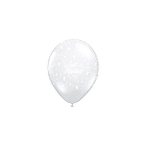 """QUALATEX 11"""" (28cm-es) -  25db/csomag - Just married, diamond clear, kristálytiszta, átlátszó, esküvői lufi, 39801"""