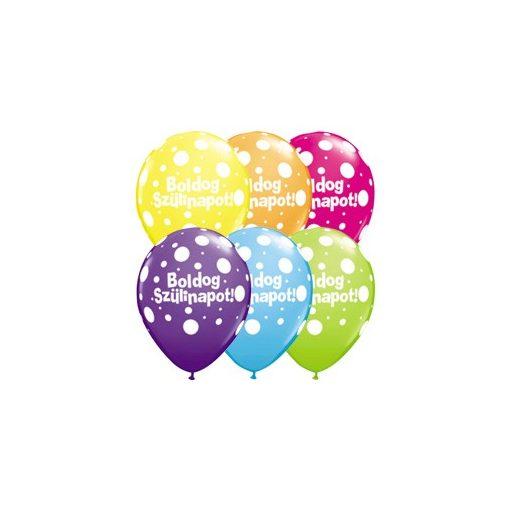 """Szülinapi latex lufi 11"""" 28cm 6db Boldog születésnapot!, q780525rp"""