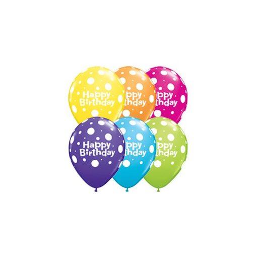 "Szülinapi latex lufi 11"" 28cm 6db Happy Birthday! pöttyös, polka dots, 17919"
