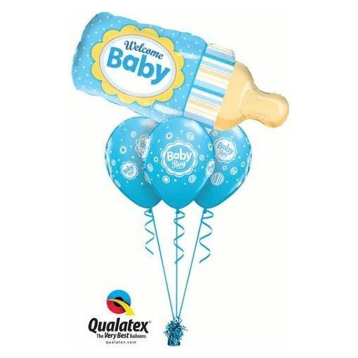 Héliumos luficsokor babaszületésre kisfiú, Welcome Baby, cumisüveg - INGYENES KISZÁLLÍTÁSSAL