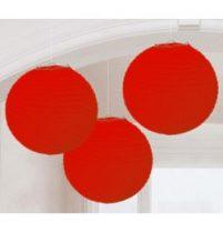Lampion gömb 24cm 3db, piros színben