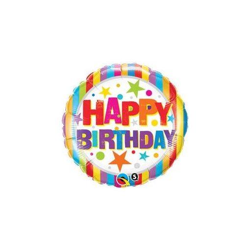 """Szülinapi fólia lufi 18"""" 45cm Happy Birthday, 16770, héliummal töltve"""