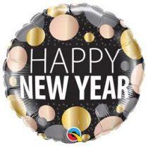 "Fólia lufi 18"" 45cm Happy New Year, 58163, héliummal töltve"