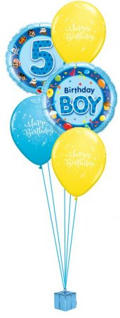 Héliumos luficsokor szülinapra, Happy Birthday, 5-ös - INGYENES KISZÁLLÍTÁSSAL