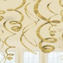 Spirális függő dekoráció arany 56cm 12db a6705519