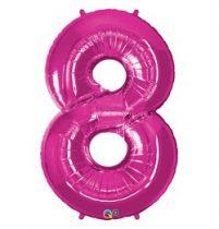 """Számos lufi 34"""" 86cm óriás rózsaszín fólia szám 8, Héliummal töltve, 30596"""