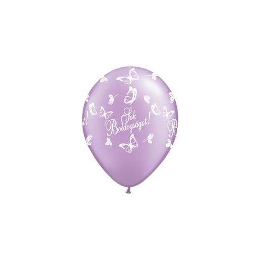 """QUALATEX 11"""" (28cm-es) -  25db/csomag - Sok boldogságot!, pearl lavender, gyöngyház levendula, esküvői lufi, q824034-6"""