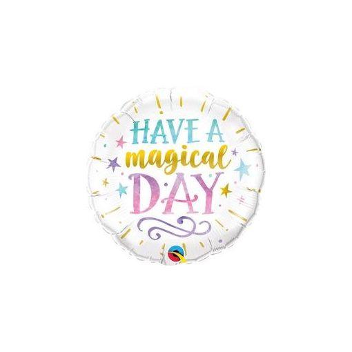 """Fólia lufi 18"""" 45cm Have a magical day, 57262, héliummal töltve"""