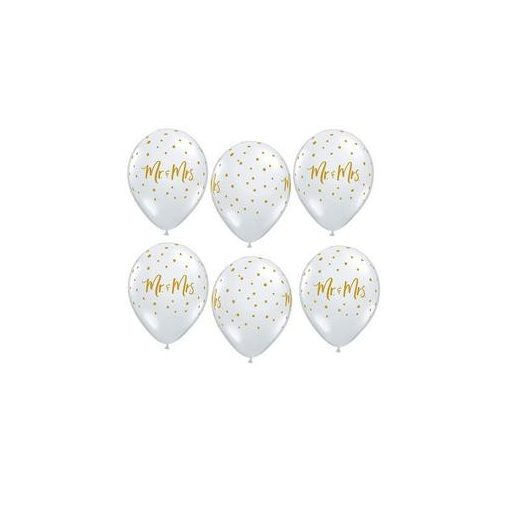 """QUALATEX 11"""" (28cm-es) -  25db/csomag - Mr&Mrs, diamond clear, kristálytiszta, átlátszó, pöttyös, esküvői lufi, 57777"""