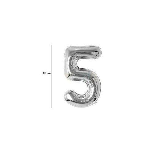 """Számos lufi 34"""" 86cm óriás ezüst fólia szám, számjegy 5-ös Héliummal töltve, 30417"""