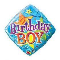 """Szülinapi fólia lufi 18"""" 45cm Birthday Boy, 34434, héliummal töltve"""