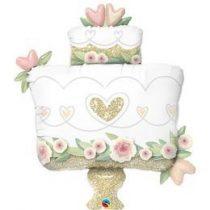 "Óriás esküvői fólia lufi 41"" 104cm, Esküvői torta, Wedding cake, glitteres, 57377, héliummal töltve"