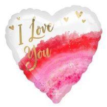 """Fólia lufi 18"""" 45cm """"Love you"""" szív, 97433, héliummal töltve"""