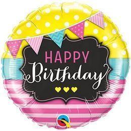 """Szülinapi fólia lufi 18"""" 45cm Happy Birthday, 49144, héliummal töltve"""