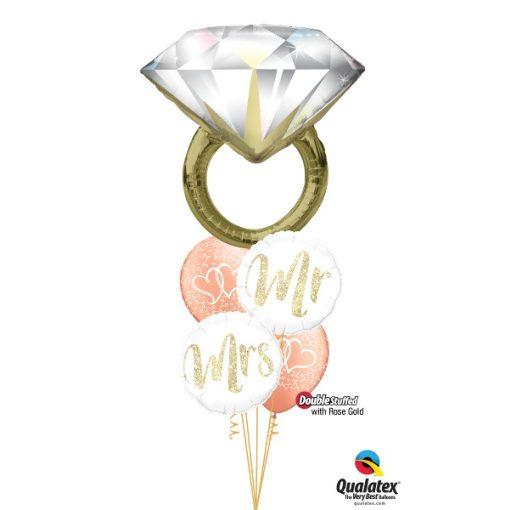 Héliumos luficsokor esküvő, szerelem, gyűrű - INGYENES KISZÁLLÍTÁSSAL