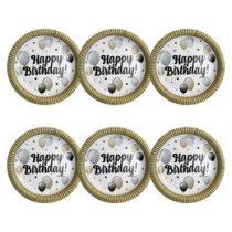 Papírtányér Happy Birthday! 23cm 6db, Elegáns, 24831