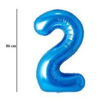 """Számos lufi 34"""" 86cm óriás kék fólia szám 2 Héliummal töltve, 30519"""