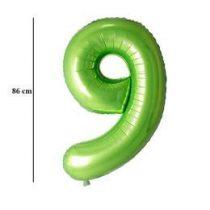 """Számos lufi 34"""" 86cm óriás zöld fólia szám, számjegy 9-es, Héliummal töltve"""